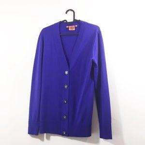 Tory Burch Merino Wool Purple Cardigan Sweater